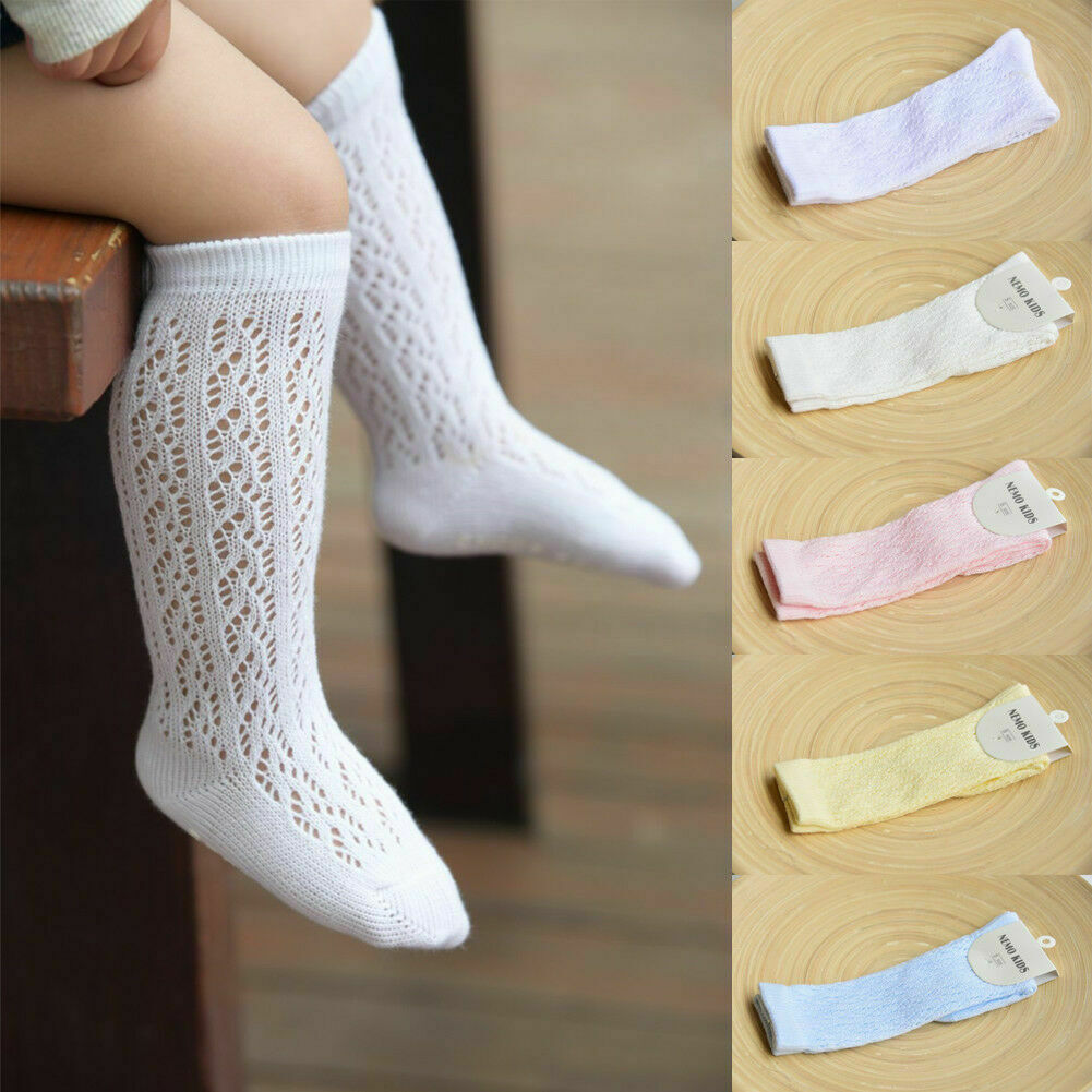 Baby Infant Girl Non-slip Hallow Out Socks Knee High Lace Princess Socks Long Tube Booties Solid Baby Kids Sock