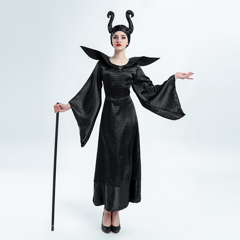 Halloween Clothing Adult Women's Sleeping Spell After Dark Cosplay Clothes Black Law Magic WOMEN'S Dress Stage Wear Women's