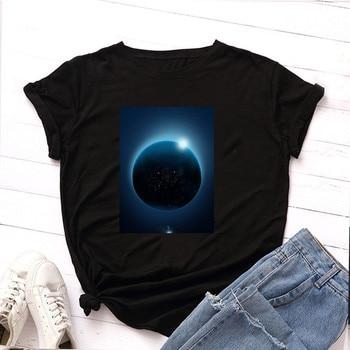 Plus Size S-5XL New Moon Planet Print T Shirt Women Shirts 100% Cotton O Neck Short Sleeve Summer T-Shirt Tops Casual Tshirt 4