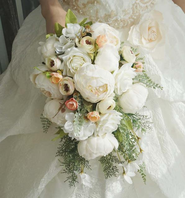 Fiori Wedding.Janevini White Waterfall Wedding Bouquet Artificial Peony Rose