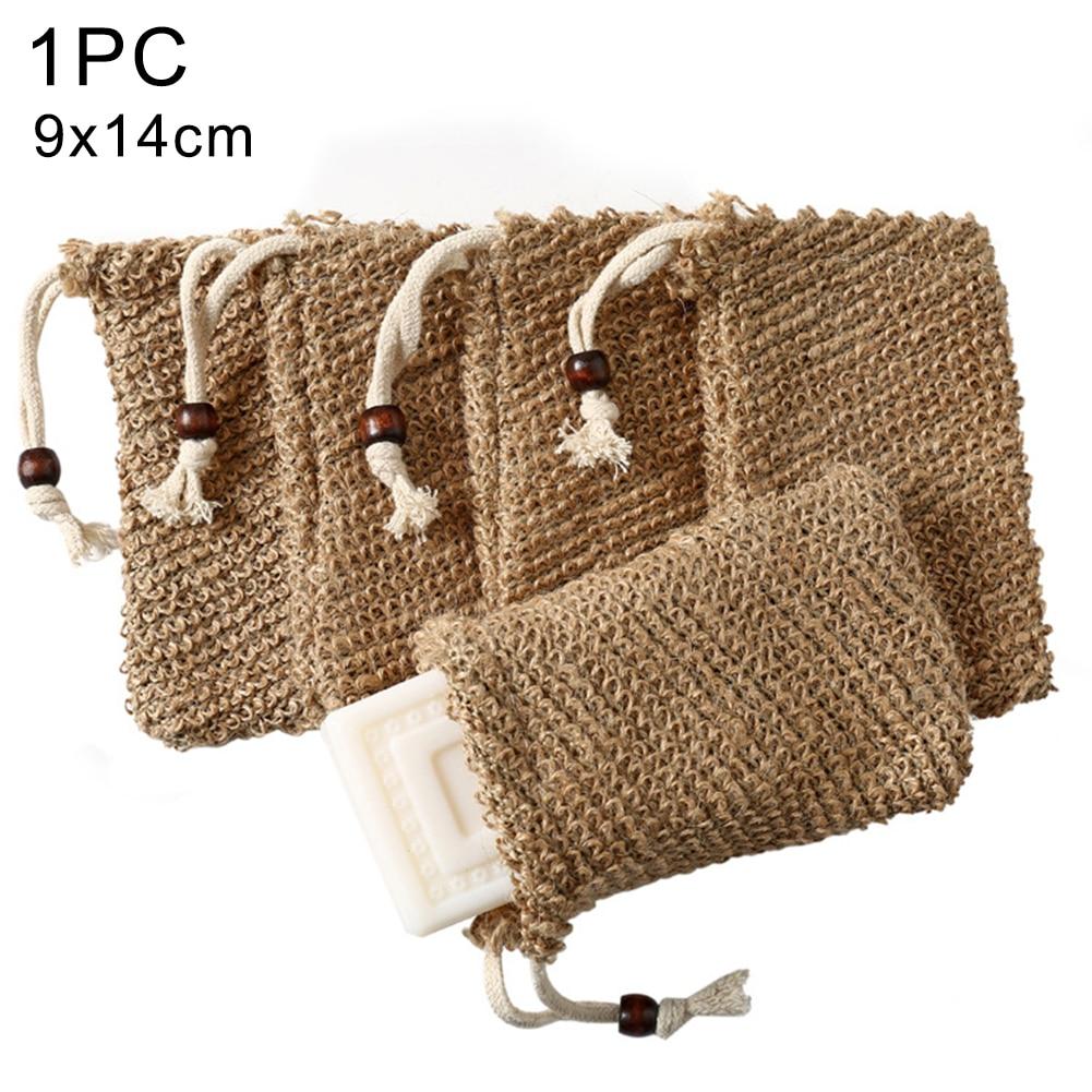 1PC Cotton Linen Soap Foaming Net  Shower Exfoliator Sponge Pouch Comfortable Blister Mesh Soap Saver Bag Foaming Net New M6