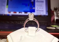 TR247 Rings For Women 1 Carat nscd Simulated Gem Engagement Wedding Solitaire Ring with accents jewelry