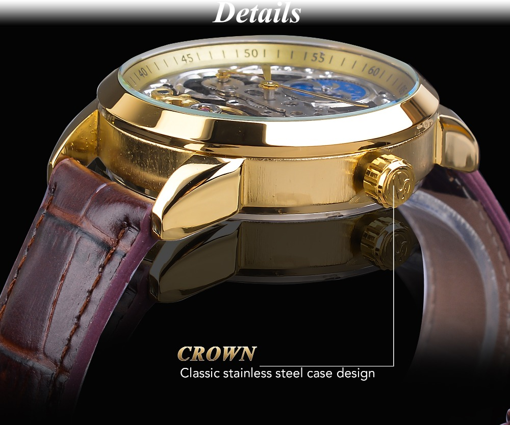 Forsining 2019 Fashion Mechanical Automaitc Male Watches Top Brand Luxury Golden Clock Leather Strap Moon Phase Horloges Mannen