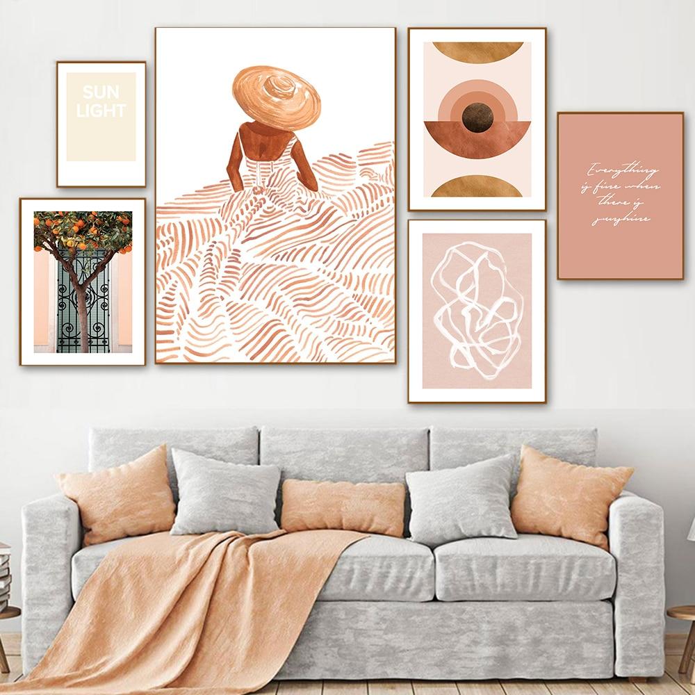 Абстрактный постер с буквами в стиле бохо, Картина на холсте, апельсины, дерево, девушка, настенные картины для гостиной, скандинавский деко...