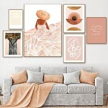 Soyut mektup afiş Boho tarzı tuval boyama portakal ağacı kız oturma odası için duvar resimleri Nordic dekorasyon ev sanat
