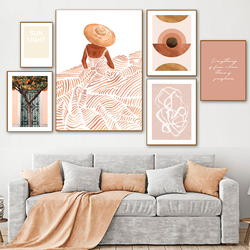 Abstract Letter Poster Boho Style Canvas Painting Oranges Tree Girl Wall Pictures for Living Room Nordic Decoration Home Art