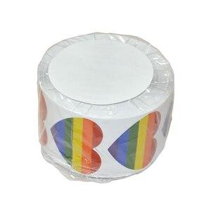 Image 5 - Rollo de pegatinas en forma de corazón para manualidades, rollo de pegatinas en forma de corazón, Arco Iris, Orgullo Gay, para regalo, 500 Uds.