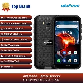 Купить Ulefone Armor X7 Pro Android 10 смартфон 4 ГБ 32 ГБ 4000 мАч IP68 водонепроницаемый мобильный телефон Bluetooth 5,0 NFC 4G LTE прочные телефоны