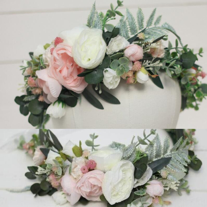 Women Wedding Flower Wreath Crown Festival Headband Women Hair Accessories Headdress Girl Floral Garland Wedding Floral Headwear