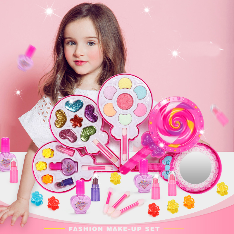 Girls Make Up Toy Pretend Play Kid Makeup Set Safety Non-toxic Makeup Kit Toy For Girls Dressing Cosmetic Travel Box Beauty Toys