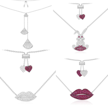Ailie high quality 1:1 original 925 sterling silver necklace A hot red lip rabbit series PM elegant lady fashion jewelry gifts