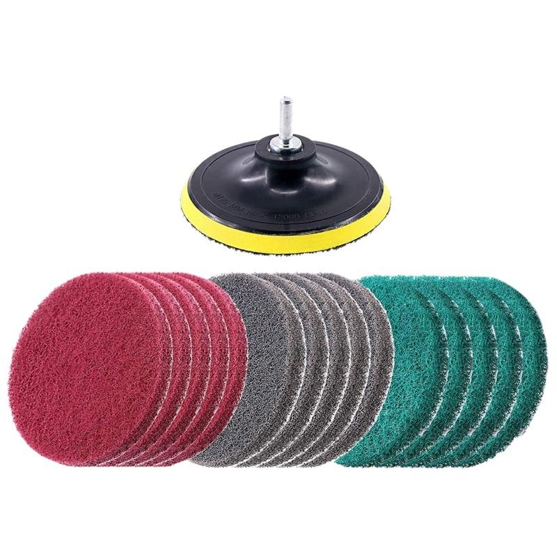 EASY 16Pcs 5 Zoll 3 Verschiedenen Farbe Schrubben Pads Bohrer Angetrieben Pinsel Fliesen Wäscher Scheuer Pads Reinigung Kit  Abrasive Polieren-in Polierpads aus Werkzeug bei title=