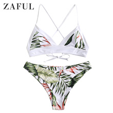 ZAFUL Women Palm Criss Cross Bikini Set Wire Free Leaf Print Bathing Suit Padded Spaghetti Straps Swimwear Summer Basic Swimsuit
