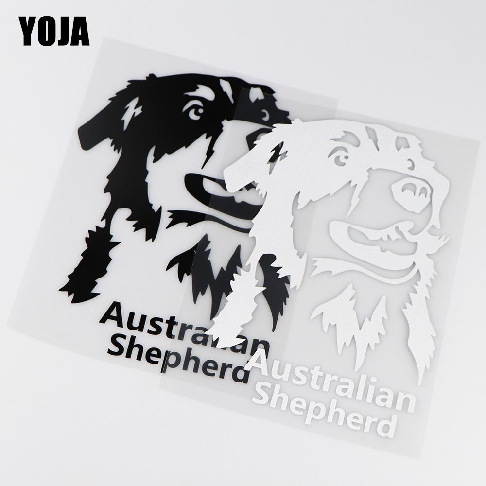 YOJA 14X19.5CM Australian Shepherd Cartoon Vinyl Decals Decoration Car Sticker ZT4-0041