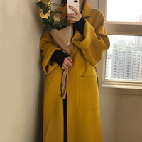 Women Wool Blends Autumn Elegant Office Ladies Ginger Yellow Solid Belted Long Overcoat Oversized Winter Coat Korean Minimalist