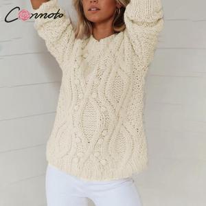 Image 3 - Conmoto blanc balle diamant haute couture pull pull femmes lâche chandails tricotés dames automne hiver pull pull