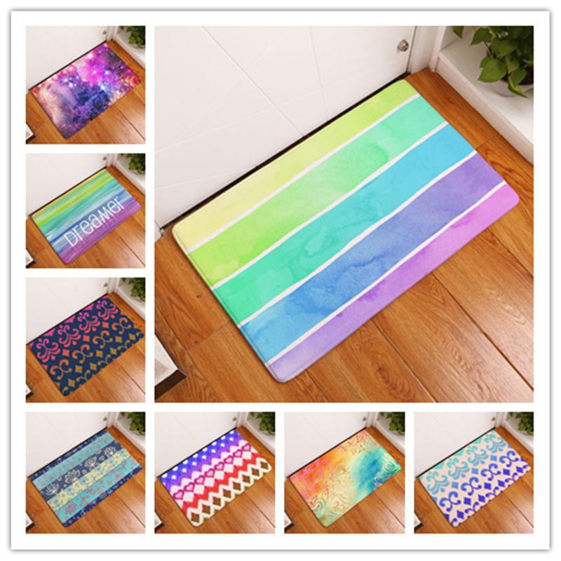 1 pc Rainbow home bathroom mat absorbent carpet door flannel printing foot pad Bathroom set rug