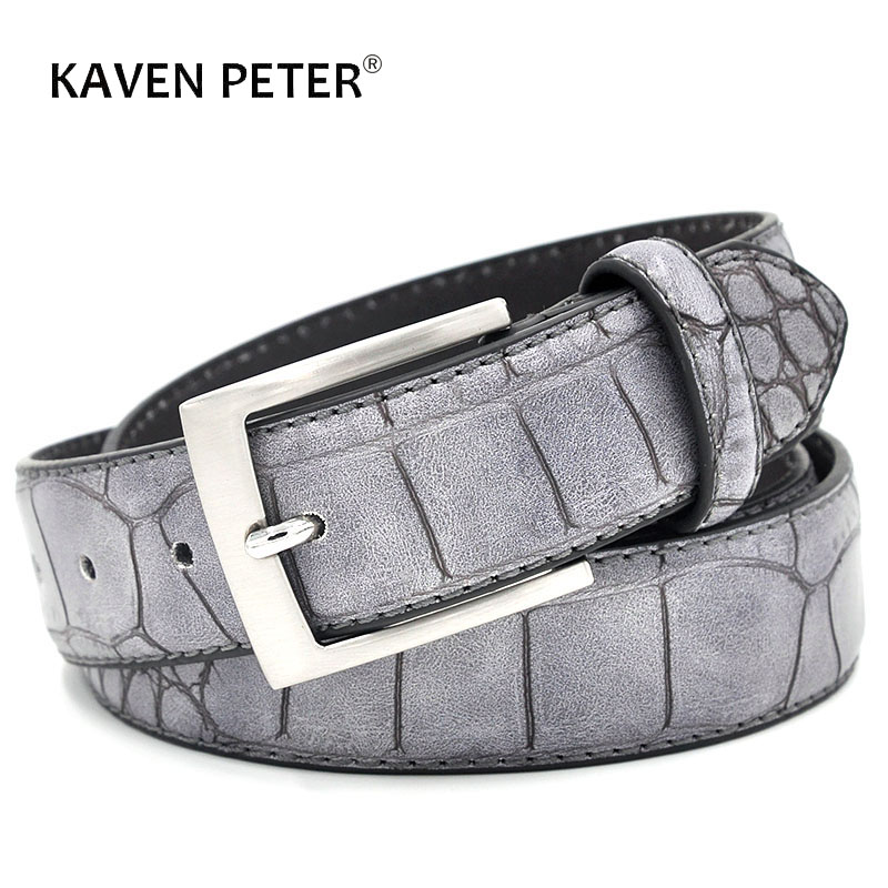 Mens Fashion Waist Belts Faux Crocodile Pattern With Split Leather Luxury Male Designer Belt Accessories Factory Price