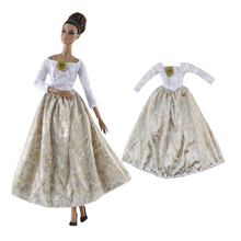 цена Handmade Retro Long Dress Outfit Set Clothes for Barbie BJD Fashion Royalty Doll Accessories Play House Dressing Up Girl Toys онлайн в 2017 году