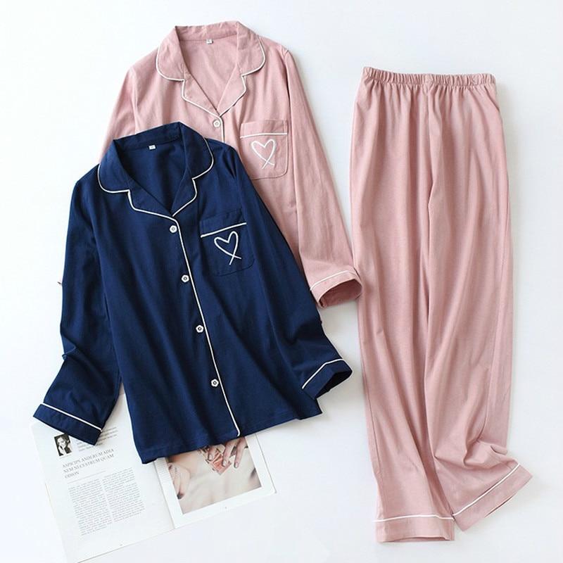 QWEEK Pajamas For Women Heart Embroidery Cotton Pijama Mujer Sleepwear Long Sleeve Nightie Pyjamas Women Dropshipping