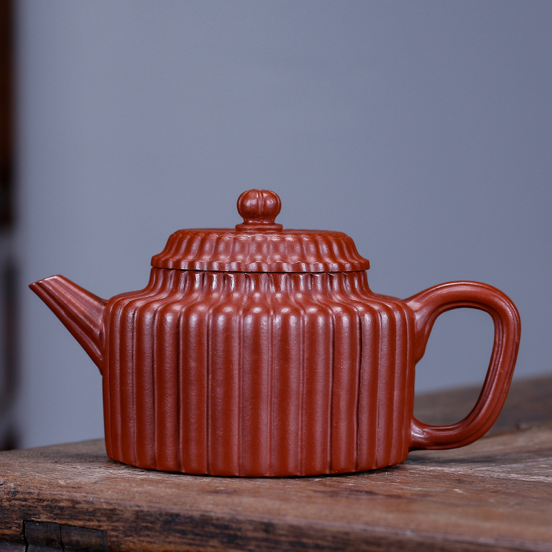 Yixing quality goods are recommended household pot of run of mine ore dahongpao manual jin wen DE clock pot of 220 ml