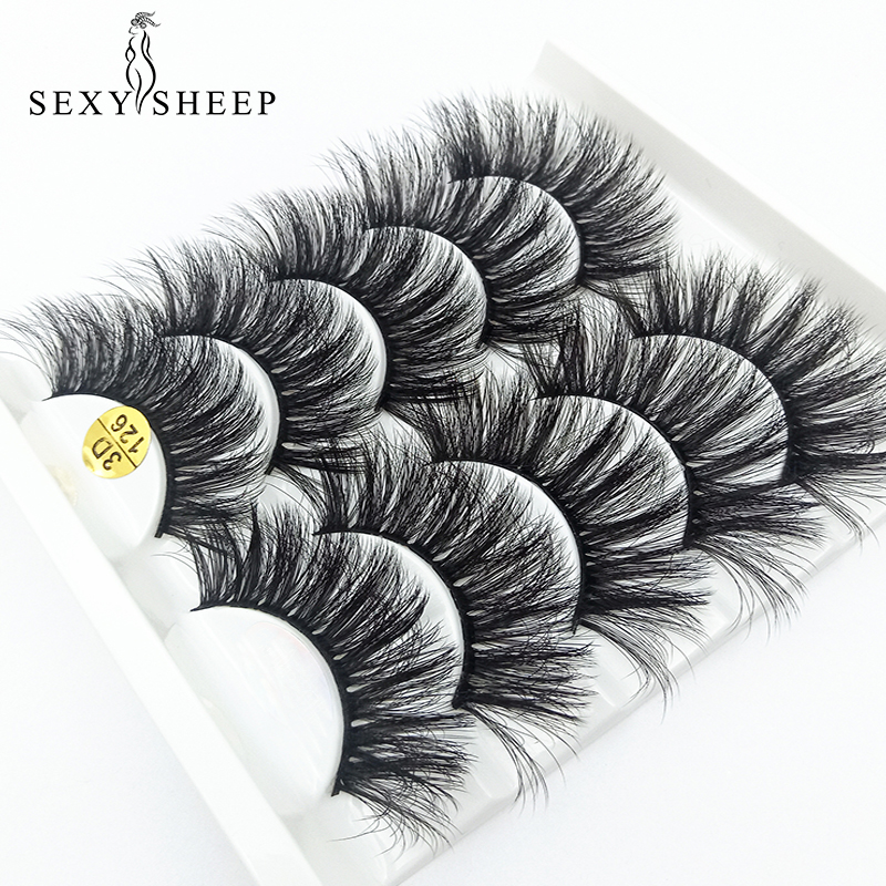 SEXYSHEEP 5pairs 3D Faux Mink Lashes Natural Long False Eyelashes Volume Fake Lashes Makeup Extension Eyelashes Maquiagem
