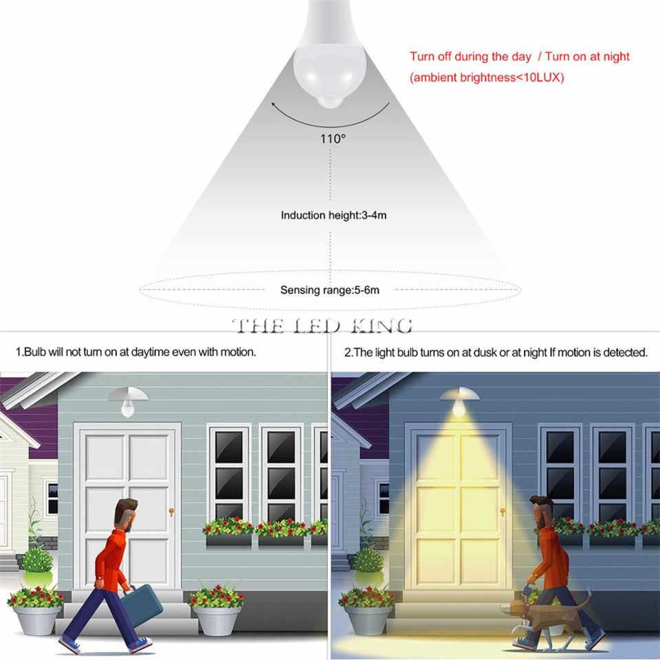 LED PIR lampe de capteur de mouvement E27 220V 7W 9W 12W 15W automatique marche/arrêt LED ampoule sensible à la lumière détecteur de mouvement du corps humain lumières