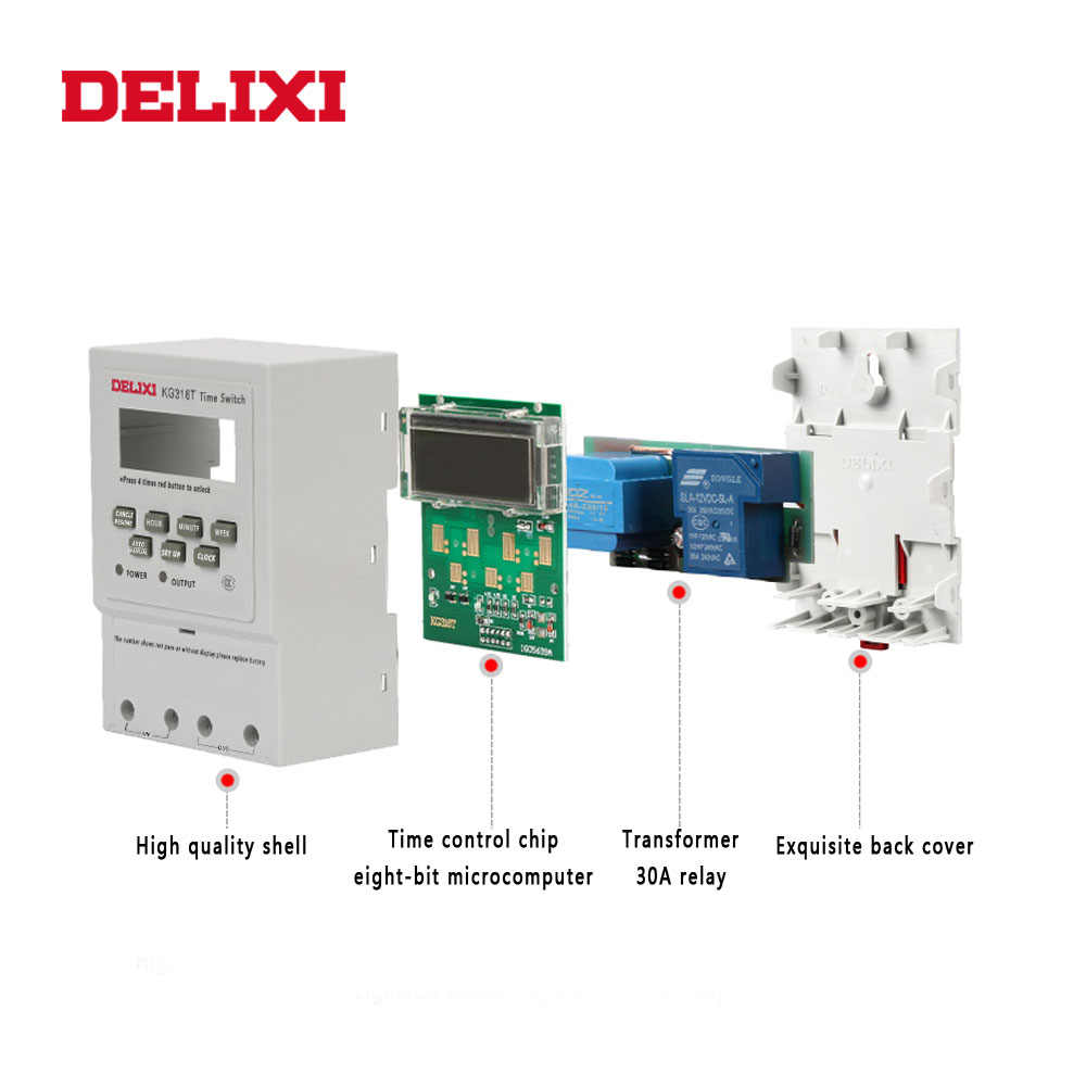 DELIXI microordenador temporizador interruptor de alimentación AC 220V 110V 12V 24V LCD Digital programable temporizador interruptor de control con montaje en carril Din
