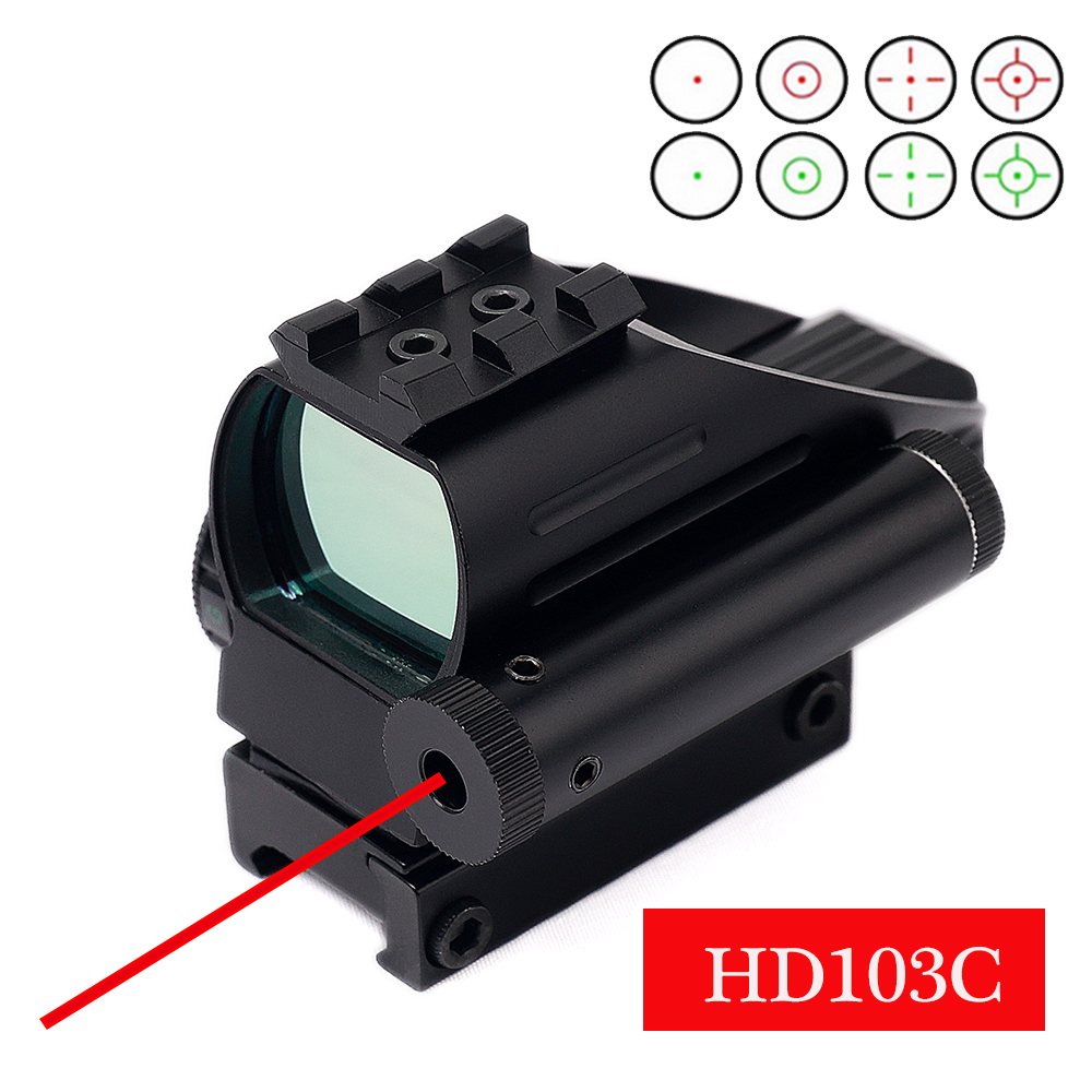 HD103C Tactical Reflex Red Green Dot Laser Scope 4 Reticle Holographic Hunting Rifle Scope 20MM Rail Airgun Sight Riflescope