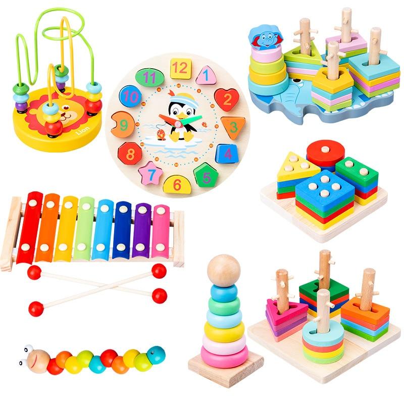 Venda quente do bebê brinquedos coloridos blocos de madeira música do bebê chocalhos gráfico cognição cedo brinquedos educativos para o bebê 0-12 meses