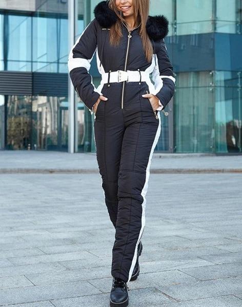 Combinaison de Ski femmes blanc et noir confortable à capuche chaude fourrure