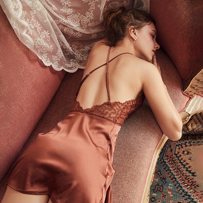 Summer Sexy Night Dress Lace Nightgow Women's New Lingerie Backless Lace V-neck Nightwear Silk Nightdress Homewear