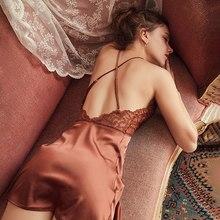 Vestido de noche de encaje con espalda descubierta para mujer, camisón de seda con cuello en V, ropa de casa