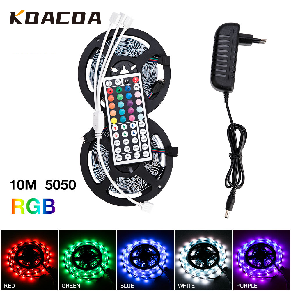 LED Strip Light RGB LED Strip 12V Ribbon SMD 5050 2835 Flexible Ribbon fita 5M 10M Tape Diode Remote Backlight for TV(China)