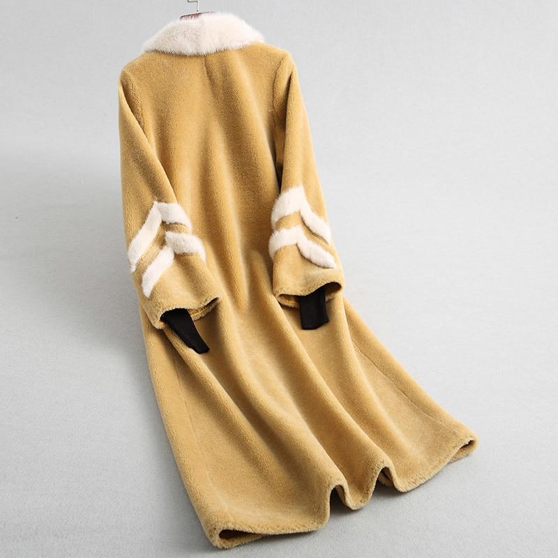 Shearing Sheep Women Coats Real Wool Fur Coat With Natural Mink Fur Collar 2020 Long Warm Winter Jackets 18172 WYQ2015