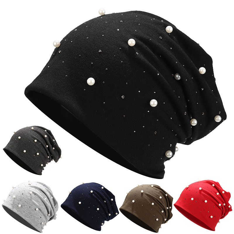 2019 Fashion Solid Color Pearl Women Skullies Beanies Winter Hats For Women Female Beanie Soft Bonnet Warm Cotton Hip Hop Hat