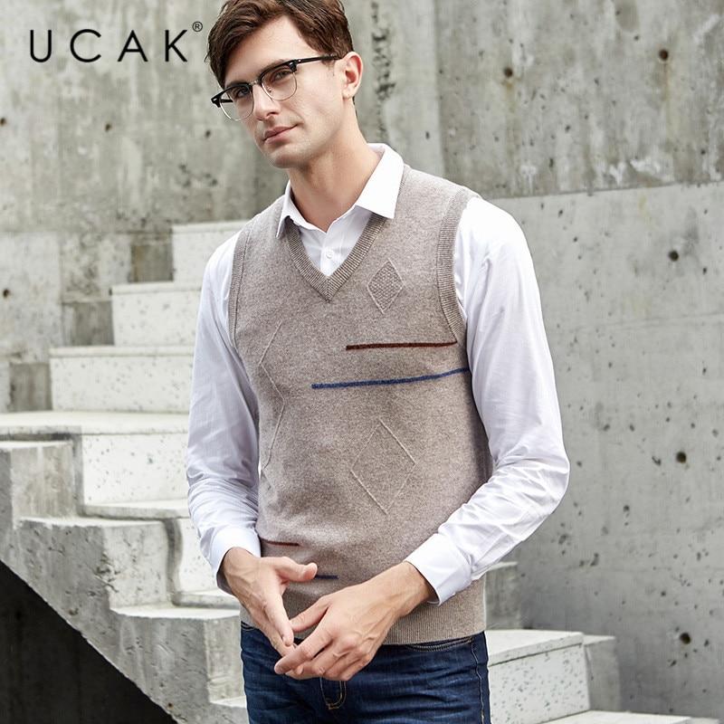 UCAK Brand Pure Merino Wool 2019 New Arrival Casual Autumn Winter Sweater Vest Pull Homme Streetwear Warm Sweaters Clothes U3119