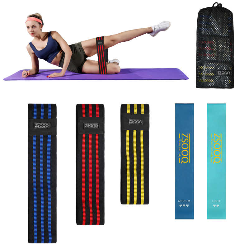 Training Hip Weerstand Bands Stof Anti-Slip Expander Fitness Elastiekjes Yoga Gym Workout Elastische Band Loop Oefening Sport