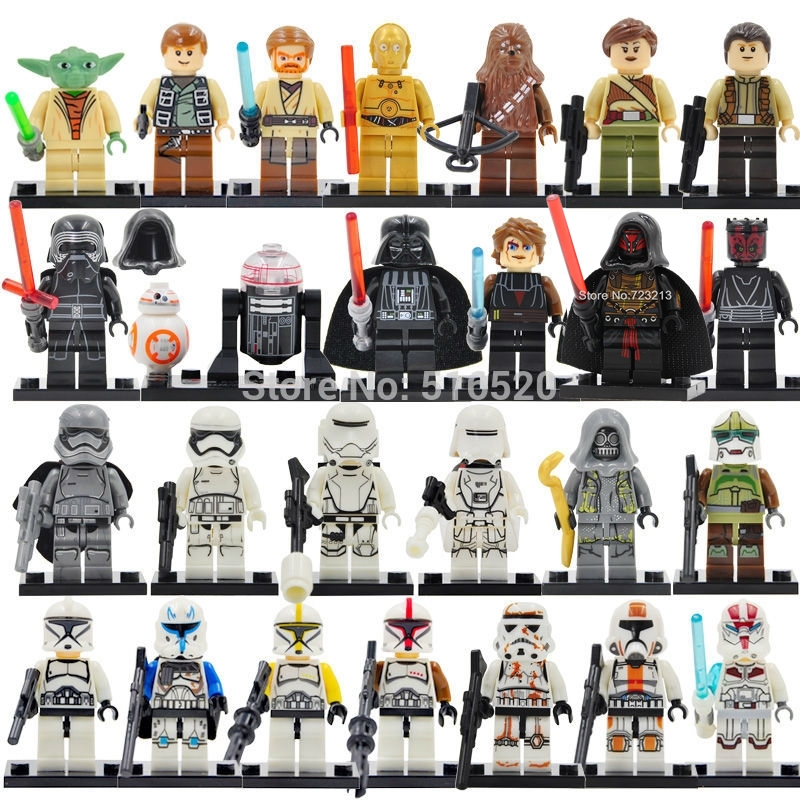 26pcs/lot Star Wars Figure Set Yoda Paploo Ahsoka Tano Obi-Wan Darth Vader Building Blocks Model Toys Legoing