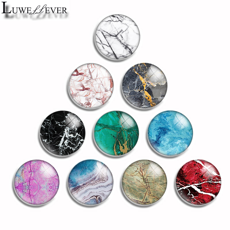 12mm 10mm 14mm 16mm 20mm 25mm 495 Colorful Marble Mix Round Glass Cabochon Jewelry Finding 18mm Snap Button Charm Bracelet