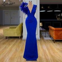 Blu Royal Piuma Abito Da Sera Abito Formale Arabia Saudita V Collo Del Vestito Da Partito 2020 Custom Dubai Abiti da ballo Robe De Soiree