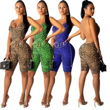 Sexy Backless Leopard Playsuit Women Short Rompers Elegant Jumpsuit Strappy Slee