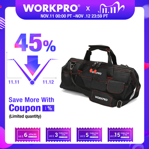 Image 1 - WORKPRO Tool Bags,  Portable Waterproof Electrician Bag Multifunction Canvas Tool Organizer for Repair Installation HVAC