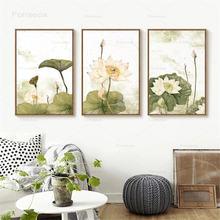 Китайский стиль плакаты и принты lotus завод чернила холст картины