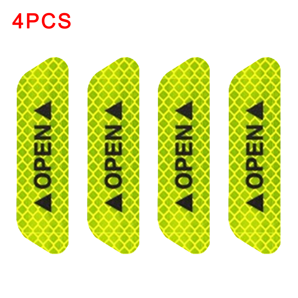 4PCS/Set Safety Bicycle Universal Reflective <font><b>Stickers</b></font> Reflective Strips Exterior <font><b>Bike</b></font> Waterproof OPEN Sign Car Door Warning Mark image