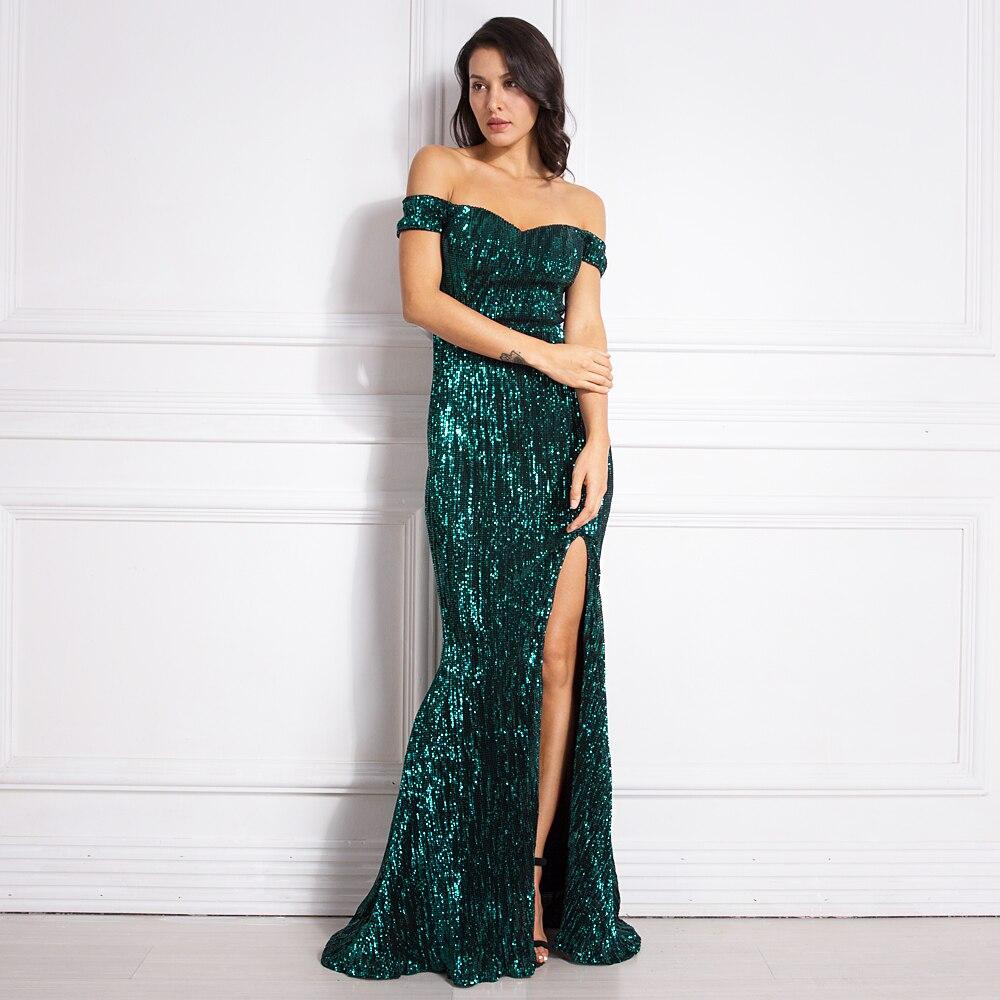 Off Shoulder Green Sequined Maxi Dress Stretch Floor Length Party Dress Slash Neck Split Leg Sequin Mermaid Dress Gold Silver
