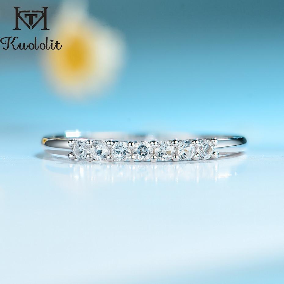 Kuololit 100% naturalny Topaz Gemstones pierścień dla kobiet stałe 925 Sterling srebrno-biały Topaz obrączka pierścień prezenty Fine Jewelry