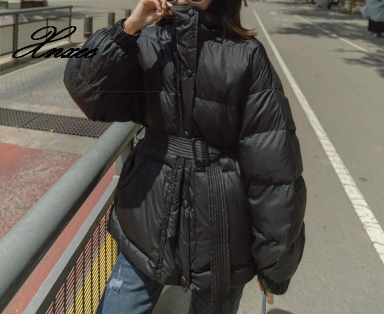 Xnxee bleu serré taille épaisse vers le bas coton veste 2019 hiver veste manteau femmes grande taille à capuche chaud femme rembourré pardessus