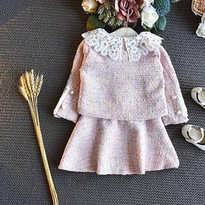 Image 4 - Sweet Fashion Princess Clothing Set For Girls Kids Children Baby Lace Dress+Long Sleeve Jacekt Coat Outwear 2pcs Suits S9638
