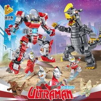 Pan luo si Genuine Ultraman Mech Bodyguard Cloth Black King Machinery Monster Assembled Small Particles Building Blocks Toy